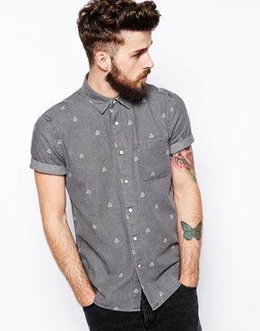 ASOS Denim Shirt In Short Sleeve With Geo Print