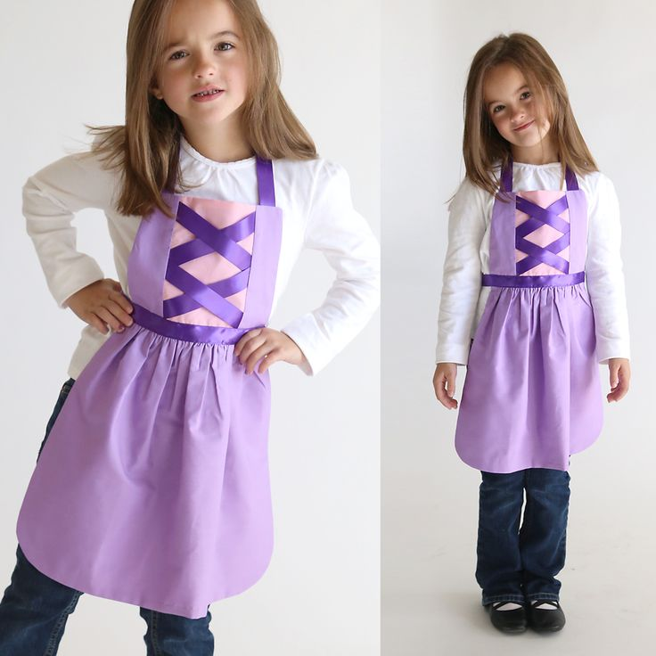 Get the free PDF sewing pattern for this Rapunzel Tangled princess dress up apron. Handmade Christmas gift for a girl. Easy DIY Halloween costume.