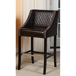 Milano Brown Quilted Bonded Leather Barstool by Christopher Knight Home by Christopher Knight Home