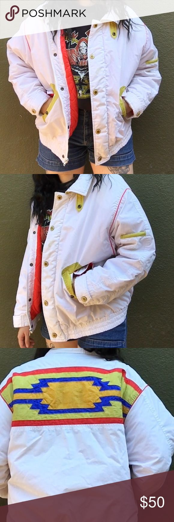 80s Vintage Aztec Bomber Size medium - I am an XS for reference. Back has a really cool and unique Aztec design on the back. Fully lined and perfect for the upcoming fall and winter season. Dated 80s- 90s era. Some signs of wear along collar but overall in perfect condition in comparison to age. Jackets & Coats Puffers