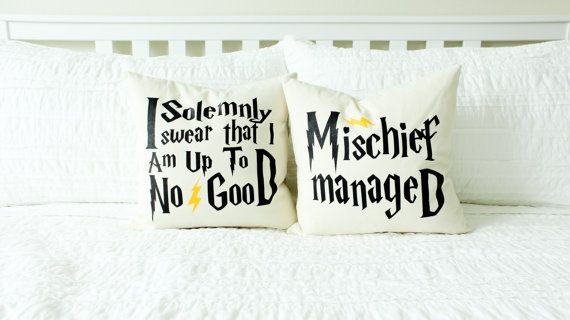 "Harry Potter ""I Solemnly Swear/Mischief Managed"" Marauder's Map Pillow Set - 2 Pillows"