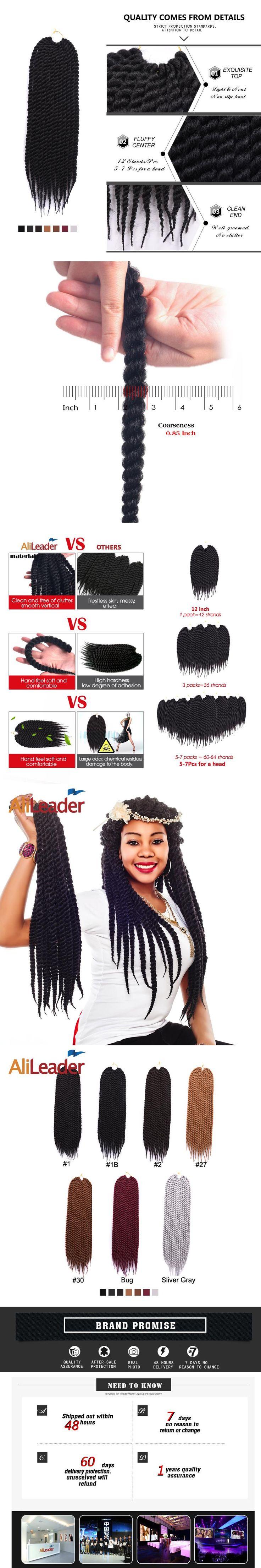 Alileader Hair Products 100% Kanekalon Hair Crochet Havana Twist Braid,  12 18 22 Inch Crochet Braids Synthetic Hair Extension