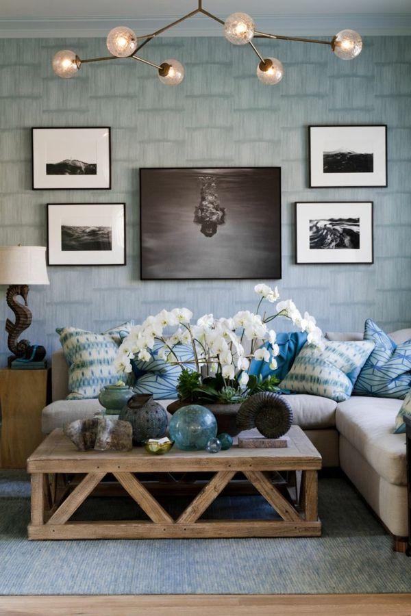 einrichtungsideen wohnzimmer rustikaler couchtisch leuchter