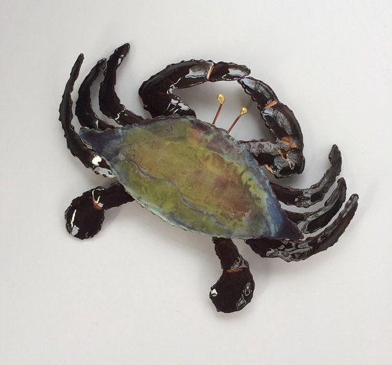 Copper Crab Nautical Wall Art Metal Crab Kitchen Wall Etsy Nautical Wall Art Coastal Artwork Metal Crab