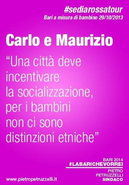 """Carlo e Maurizio """"Una città deve incentivare la socializzazione, per i bambini non ci sono distinzioni etniche"""" #labarichevorrei http://ht.ly/rYEuu"""