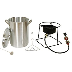 @Overstock - Fry up to a 20-pound turkey outdoors with this heavy duty 30-quart portable propane fryer from King Cooker. This portable propane gas cooker is equipped with a turkey rack and lifting hook.http://www.overstock.com/Home-Garden/King-Kooker-Outdoor-Turkey-Fryer-with-a-Stainless-Steel-30Qt.-Pot/5845255/product.html?CID=214117 $107.55