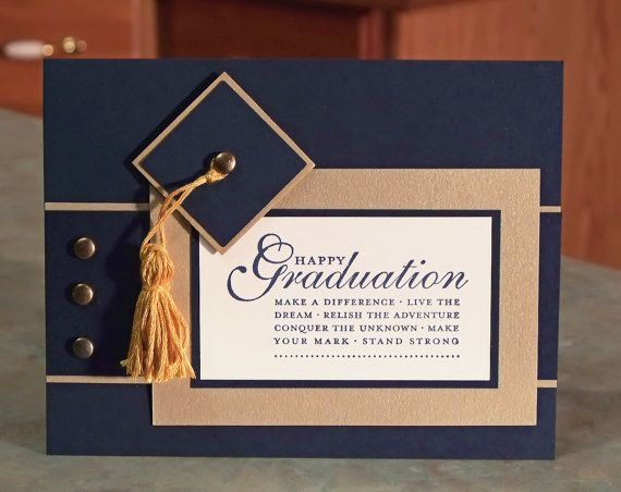 "Handmade Stampin Up Happy Grad, Cap and Tassel Graduation Card - 4.25"" x 5.5"" - You Choose Color Combination"