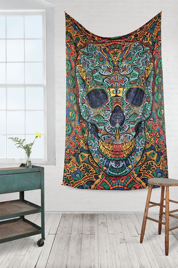 Psychedelic Tapestry 3d skull wall hanging alex grey dmt lsd Day of the dead on Etsy, $32.00