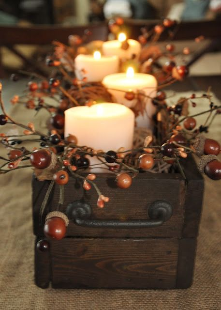 DIY Fall Centerpiece: acorn/berry garland with the box sitting on burlap