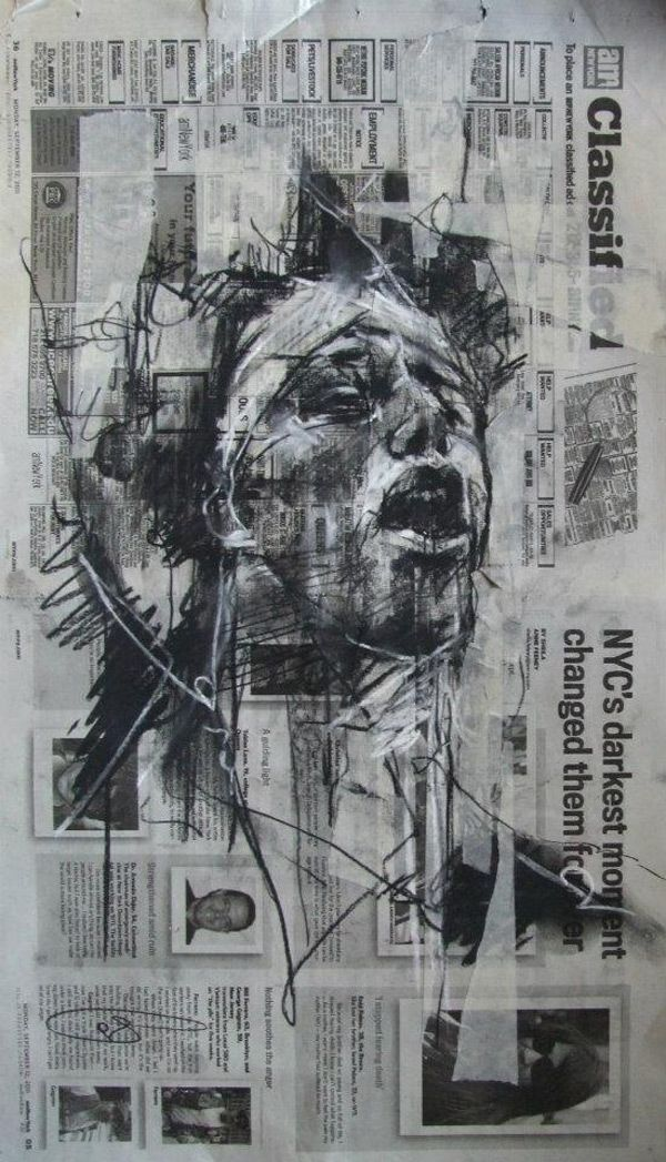 Guy Denning Sketches Occupy Wall Street  The fact Guy Denning has worked on a surface that doesn't follow generic piece of paper intruiged me initially. I think he used newspaper as the media holds so much conflict and is therefore the most simple background to use but works so well. On top of the newspaper he has drawn quite a distressing face, showing pain and hurt. This is very eye catching and made me feel quite uneasy.