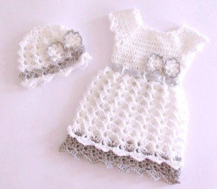 Crochet baby girl christening dress hat white silver grey newborn dress baby frock baptism dress  baby clothes