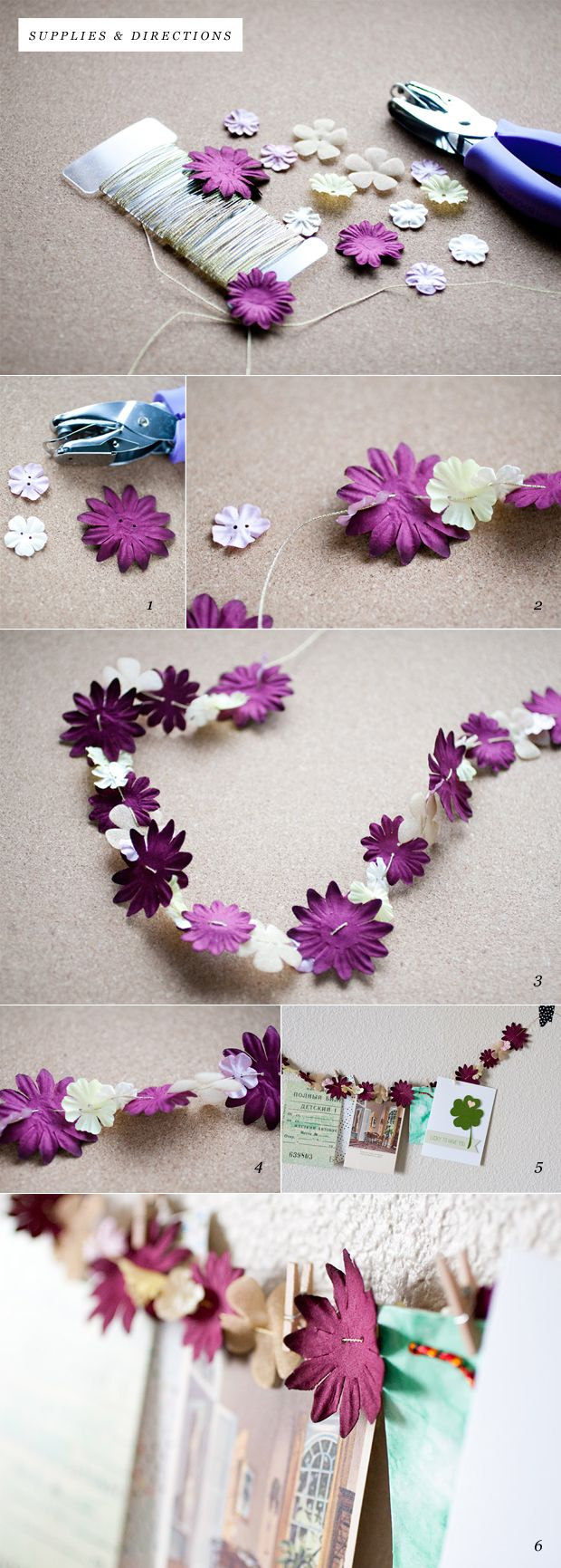 DIY paper flower garland.  I would add buttons to mine, but that is simply because I love buttons and I feel that ti would give it a more finished look.  Also I would think that you could use slik flowers for it.