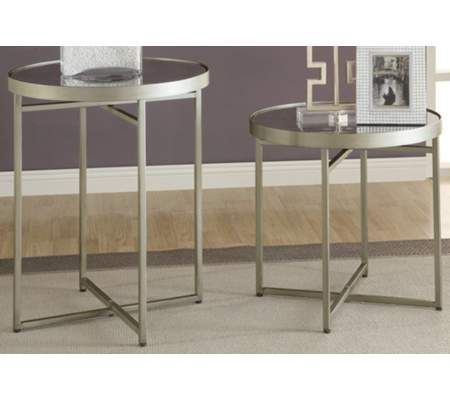 Hammery Furniture Set of 2 Crestview Midtown Antique Mirror Accent Tables ...