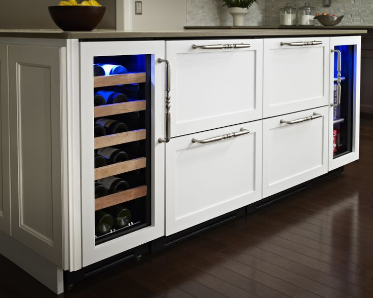 """Hollywood kitchen with True Residential 15"""" Wine Cabinet, 24"""" Refrigerator Drawers, and 15"""" Undercounter Refrigerator with overlay panels"""