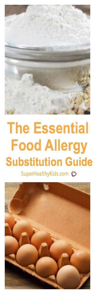 The Essential Food Allergy Substitution Guide. If your kids have food allergies, check out our ultimate substitution guide. http://www.superhealthykids.com/the-essential-food-allergy-substitution-guide/