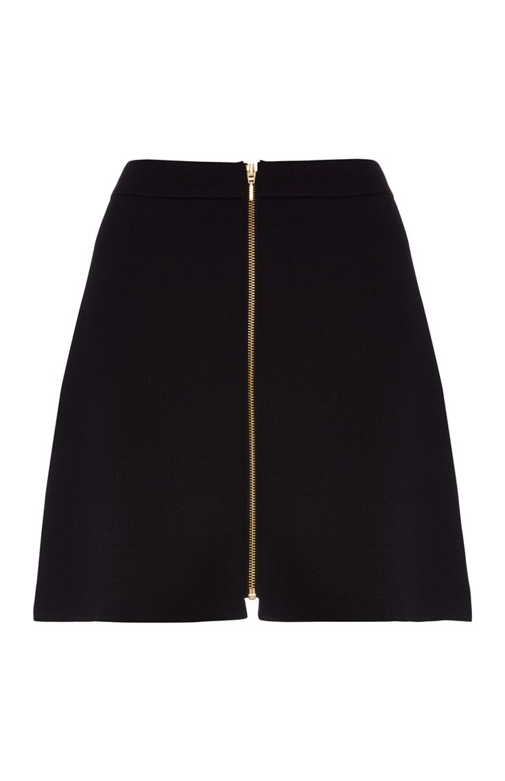 Black Zip Through A-Line Skirt