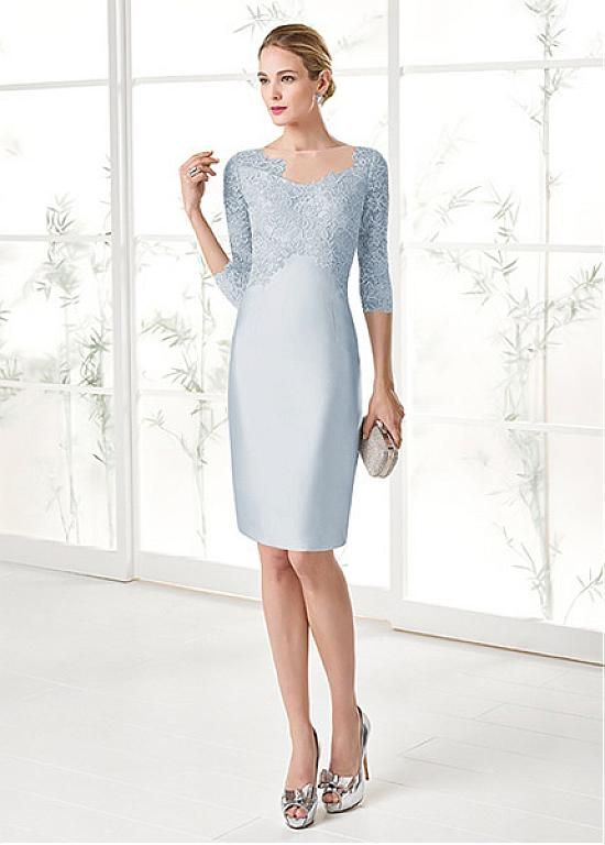 66354d194c Wonderful Lace   Satin Bateau Neckline 3 4 Length Sleeves Sheath Column  Mother Of The Bride Dresses With Detachable Coat