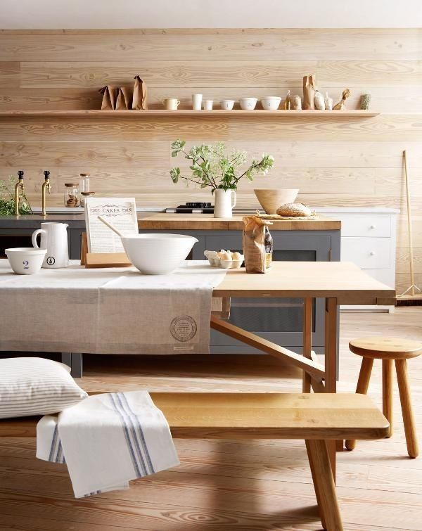wood paneling back splash gives kitchen a beachy vibe #LGLimitlessDesign & #Contest