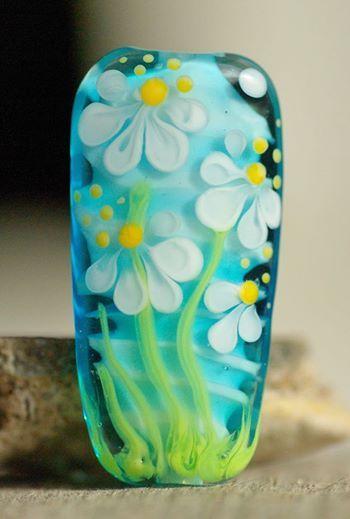 Lampwork bead, focal, spring flowers. Laila Strazdina
