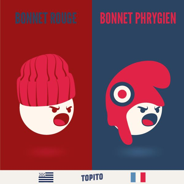 Illustrations - Bretagne VS France - Bonnet Rouge - Bonnet Phrygien