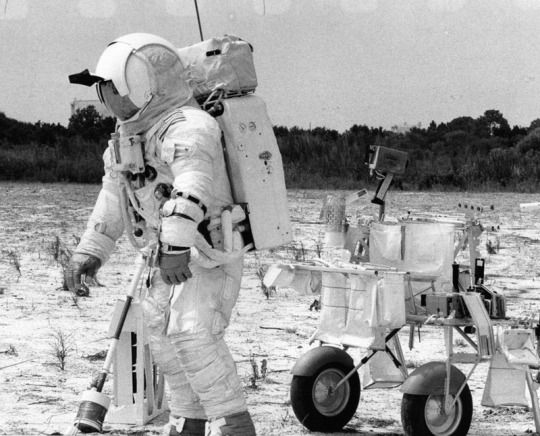 Apollo 14 Astronaut, Edgar Mitchell Training at Kennedy Space Center, 1970  Edgar Mitchel during the lunar surface simulation for the Apollo 14 mission. The mission designed to help them understand what it would require to deploy the components of tht Apollo lunar surface experiments package.