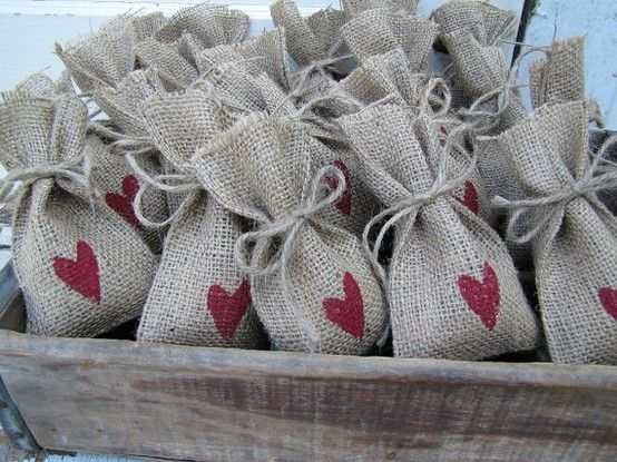 Burlap bags with colored on heart for favors at the shower?