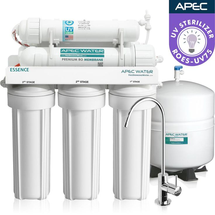 Essence Reverse Osmosis Under Counter UV Disinfecting 75 GPD 6-Stage Drinking Water Filtration System, White