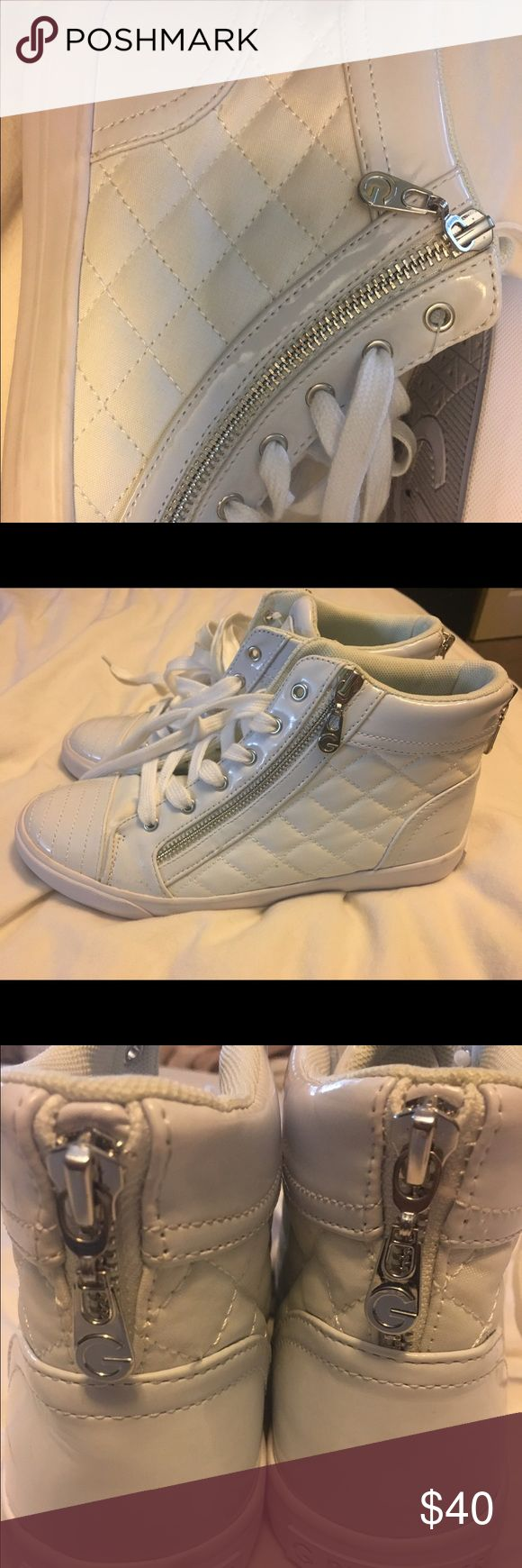 Guess white high top sneakers size 8.5 new White high top guess sneakers. Never been worn. Size 8.5 Guess Shoes Sneakers