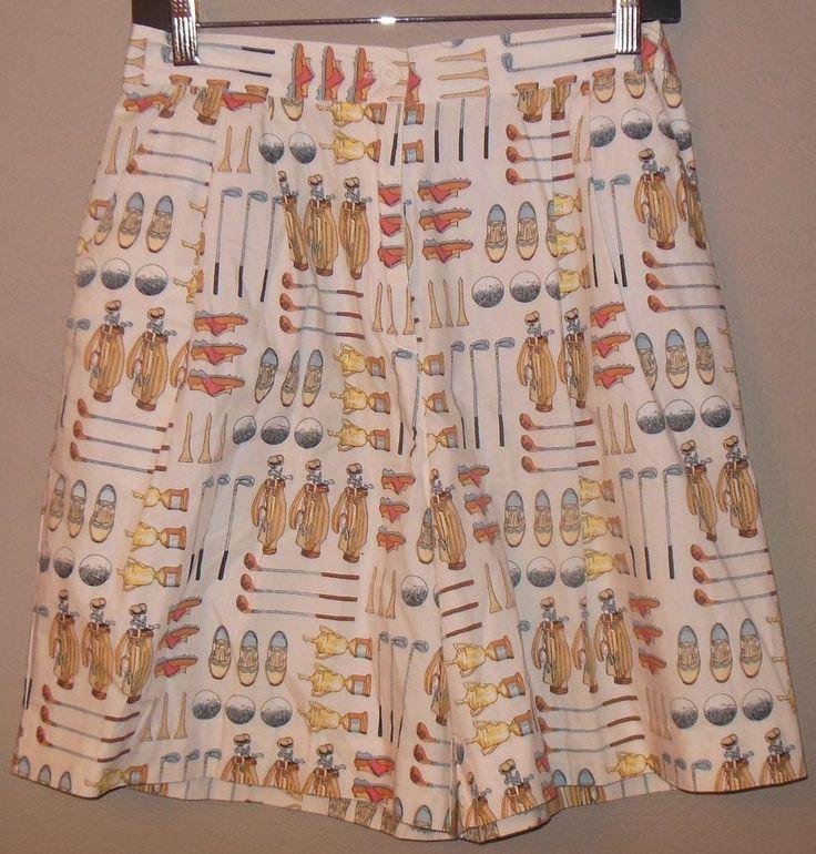Vtg Novelty Print High Waisted Women's Golf Shorts Sandy Links Golf Wear Sz 12 #SandyLinksGolfWear #CasualShorts