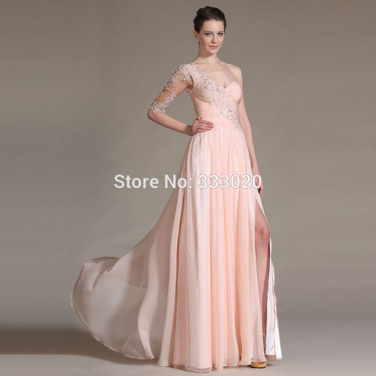 One Shoulder Half Sleeve Pink Chiffon High Slit Long Prom Dresses with Beaded Lace Appliques Formal Evening Gown