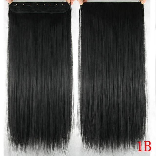 24'' Long Straight Black To Gray Ombre Hair Pad Clip In Hair Extensions