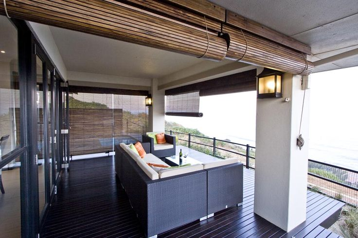 Outdoor furniture, outdoor blinds, wooden deck