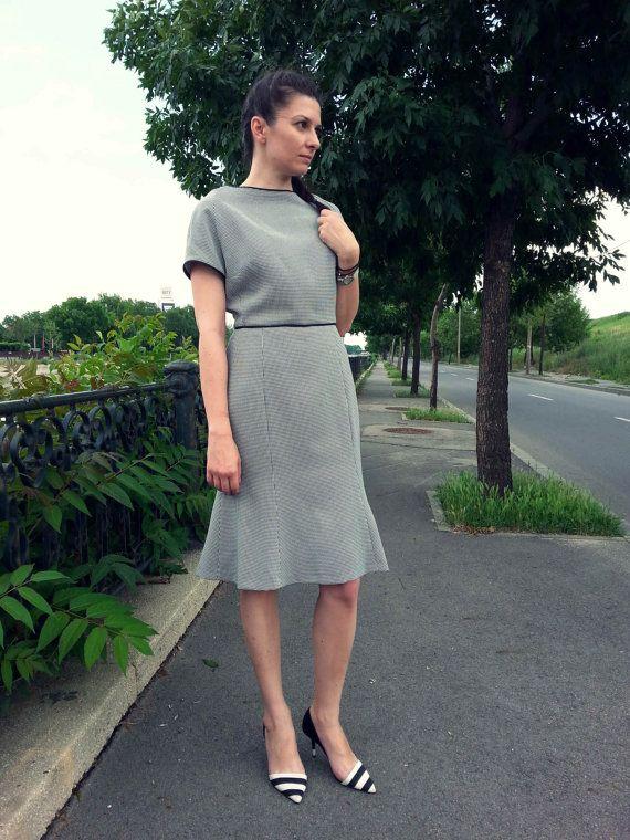 Gingham BlackandWhite Pattern Cotton Dress by PrincipessaLabel, $85.00