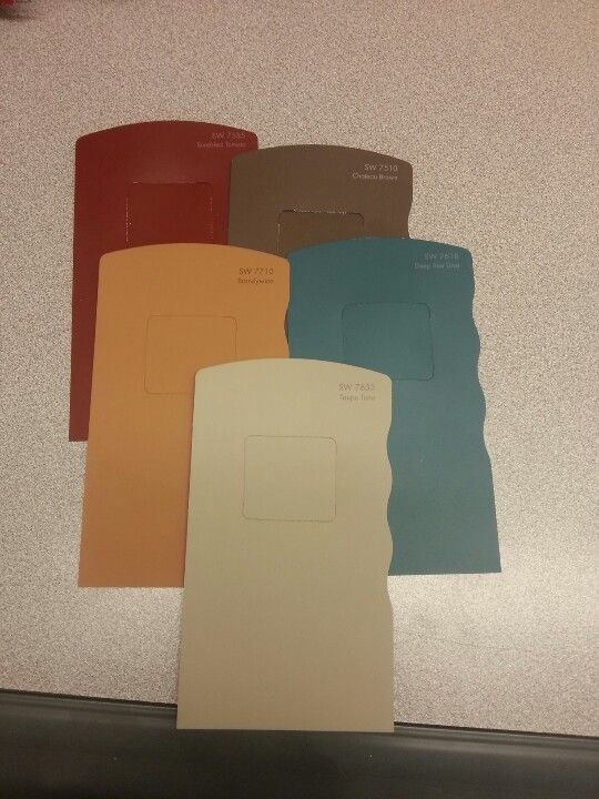 Rustic color palette for my future kitchen, except green instead of blue. So it'll match my dishes.