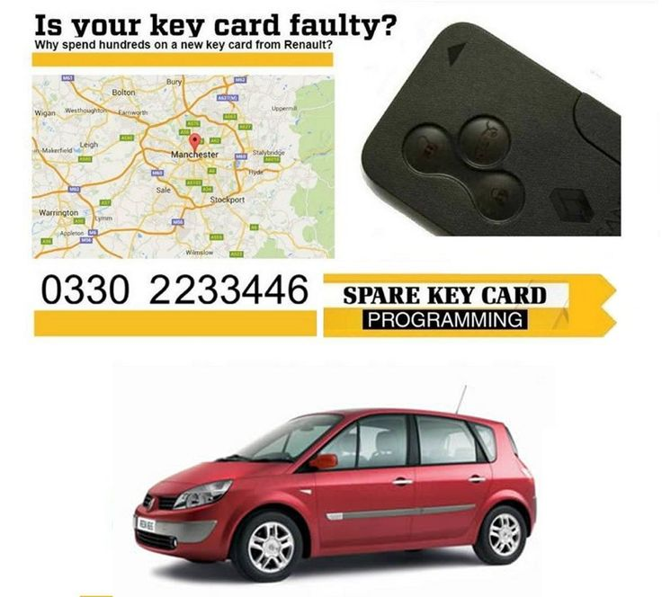 2006 Replacement 3 Button Remote Key Card for Renault Scenic + Programming