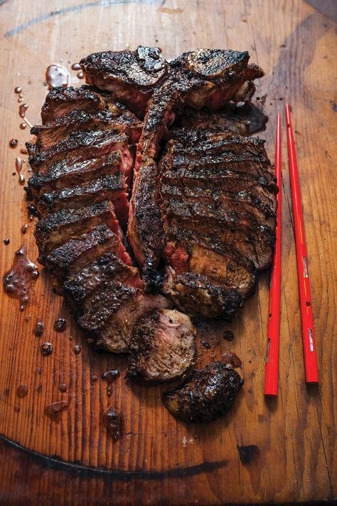 Garlic and Red-Miso Porter House A marinade of red miso, ginger, and garlic gives this steak a crisp, flavorful crust and a juicy interior.