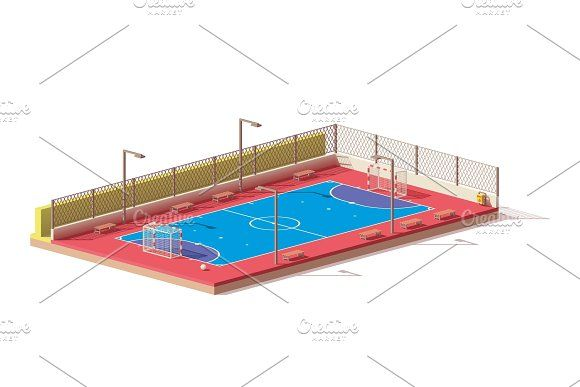 Vector low poly futsal court by tele52 on @creativemarket