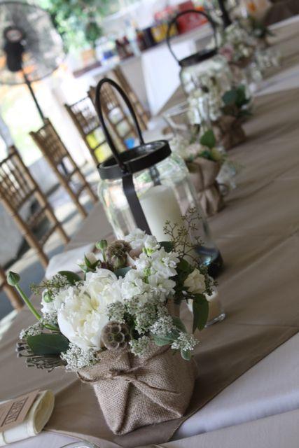 AdorableTables Sets, Tables Scapes, Rustic Elegant, Burlap Wraps, Flower Vases, Rustic Wedding Flowers, Table Scapes, Centerpieces, Green Weddings