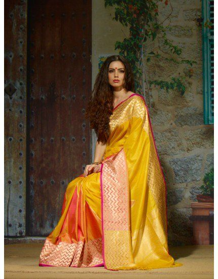 Exclusive Yellow Pure Handloom Silk Saree