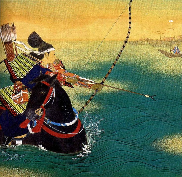 "Illustration of Nasu no Yoichi preparing to take aim at a fan, a target that the Taira had setup 250ft away as a challenge. Yoshitsune ordered Yoichi to accept the challenge. Before firing, Yoichi vows to ""smash my bow and kill myself"" if he missed the target. Yoichi hits the target and both the Taira and Minamoto cheer. As part of the celebration, a Taira dancer begins performing. Yoshitsune then orders Yoichi to kill the dancer, and Yoichi does, leaving the Taira speechless. -J. Villanueva"