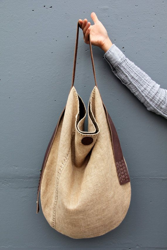 Nacimiento Slouch - Handcrafted Belgian Linen Organic Cotton Eco Leather Hobo Slouch Bag
