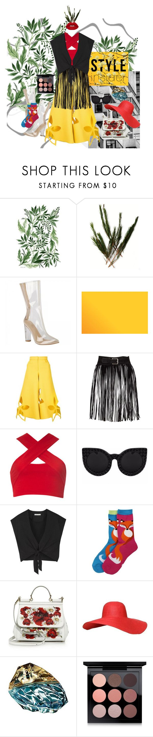 """Red plant"" by stapleluc on Polyvore featuring Rosie Assoulin, Motel, Alice + Olivia, Dolce&Gabbana, Jennifer Lopez, MAC Cosmetics, Lime Crime and modern"