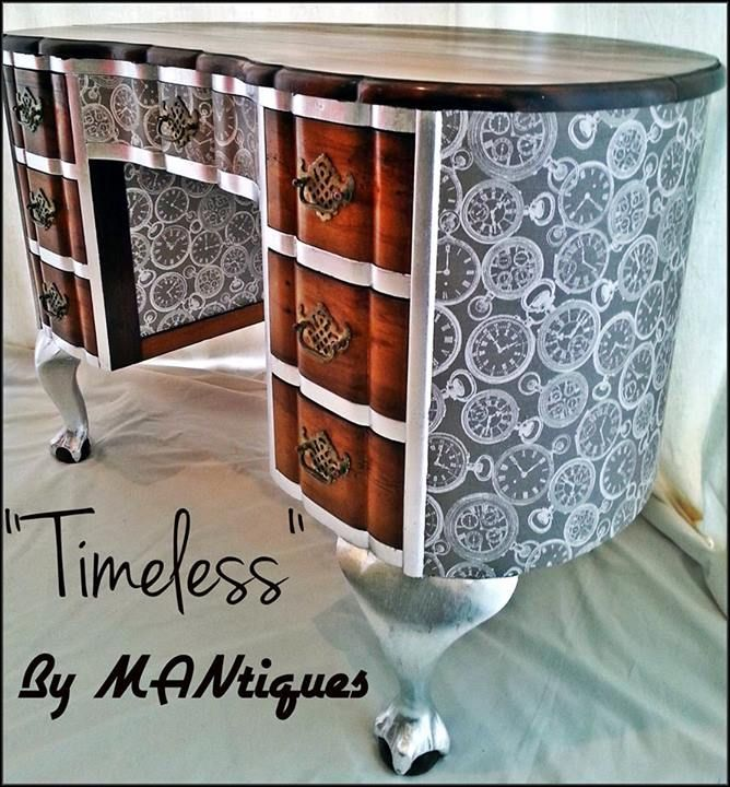 """""""Timeless"""" Bright, bold and unique kidney shape desk. Would look fantastic as a vanity in a bathroom with a round ceramic basin perched on top of it or as a magnificent entrance piece, you decide!  """"Timeless"""" has been revamped with silver leaf ball and claw legs, silver leaf frame, clocks imprinted around the base and front drawer, original restored wooden drawers and top"""