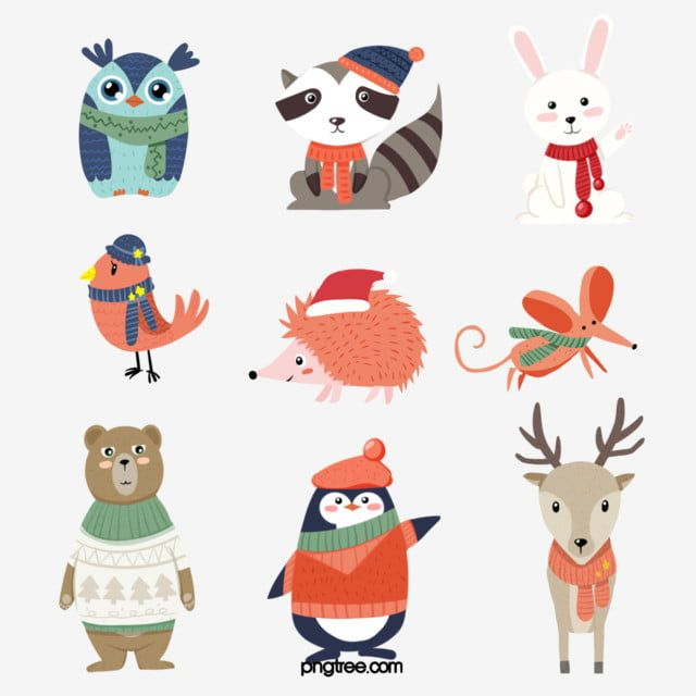Cute Little Animals In Winter Animal Clipart Animal Cartoon Style Png Transparent Clipart Image And Psd File For Free Download Animal Clipart Cute Little Animals Cartoon Styles