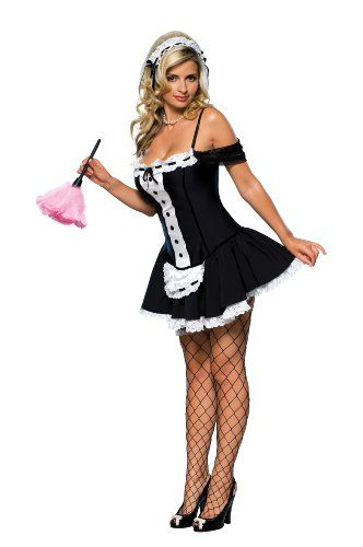 Secret Wishes Sexy Dust Bunny Maid Costume, Black, Large -3577