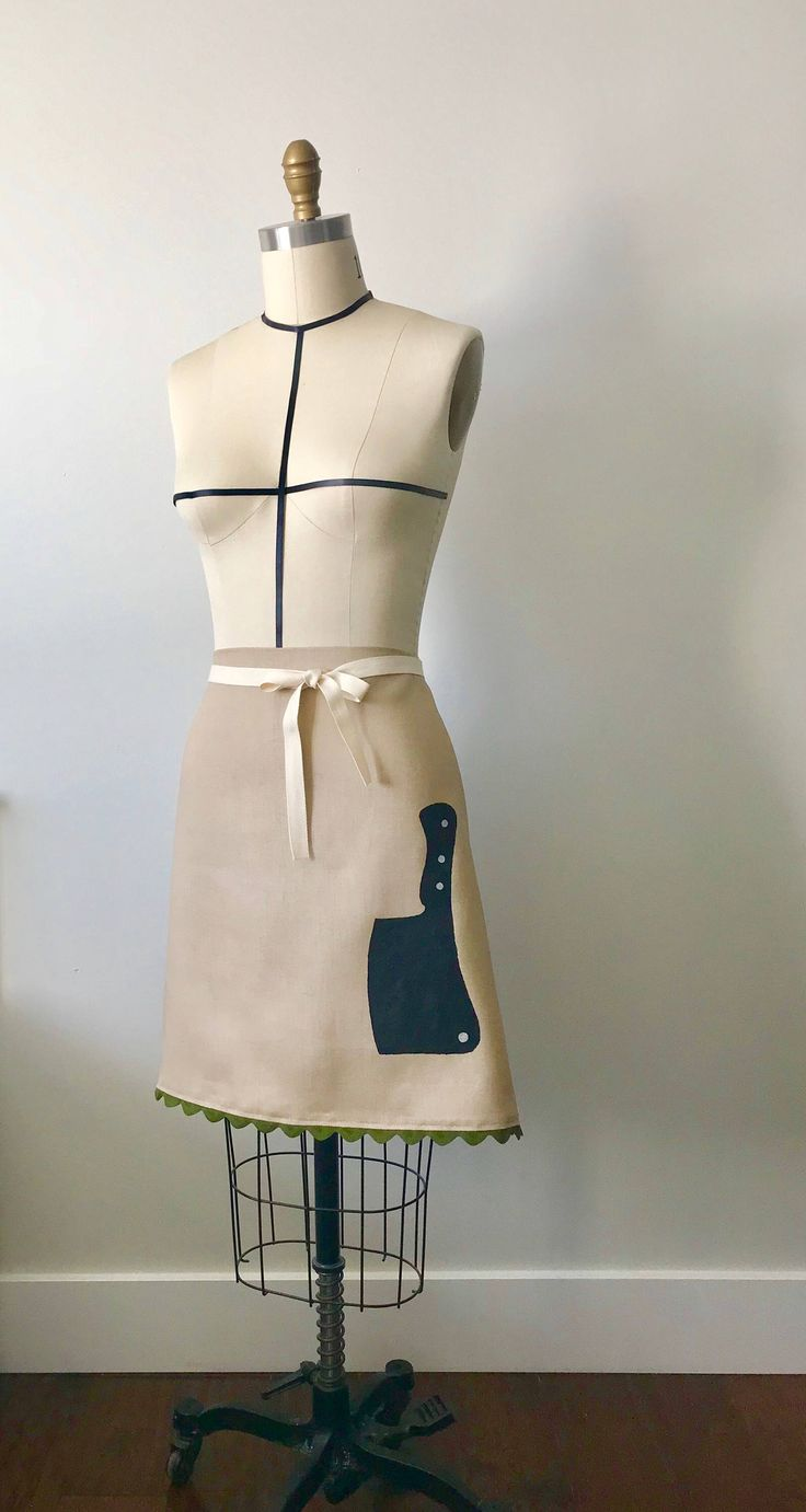 cleaver apron by CocoThePittie on Etsy https://www.etsy.com/listing/598138363/hand-painted-cleaver-bistro-apron