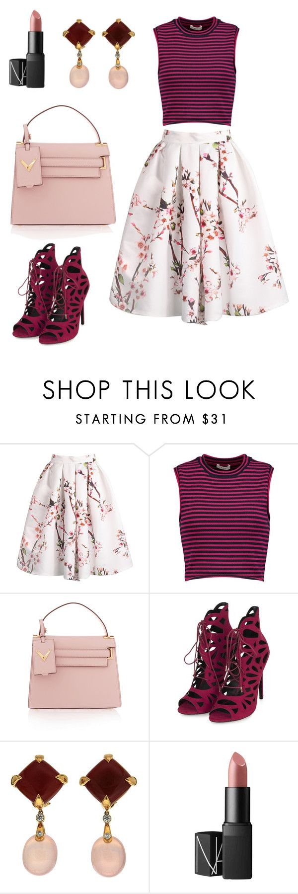 """Mixed patterns #1"" by tinehjorth ❤ liked on Polyvore featuring A.L.C., Valentino, Topshop, Valentin Magro, NARS Cosmetics and patternmixing"