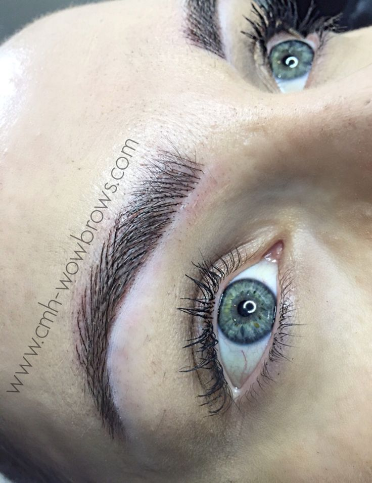 Feather touch hair stroke microblading tattooed eyebrows for Eyebrow tattoo images