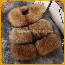 Stylish colorful real raccoon fur vest women fur vest Best Buy space