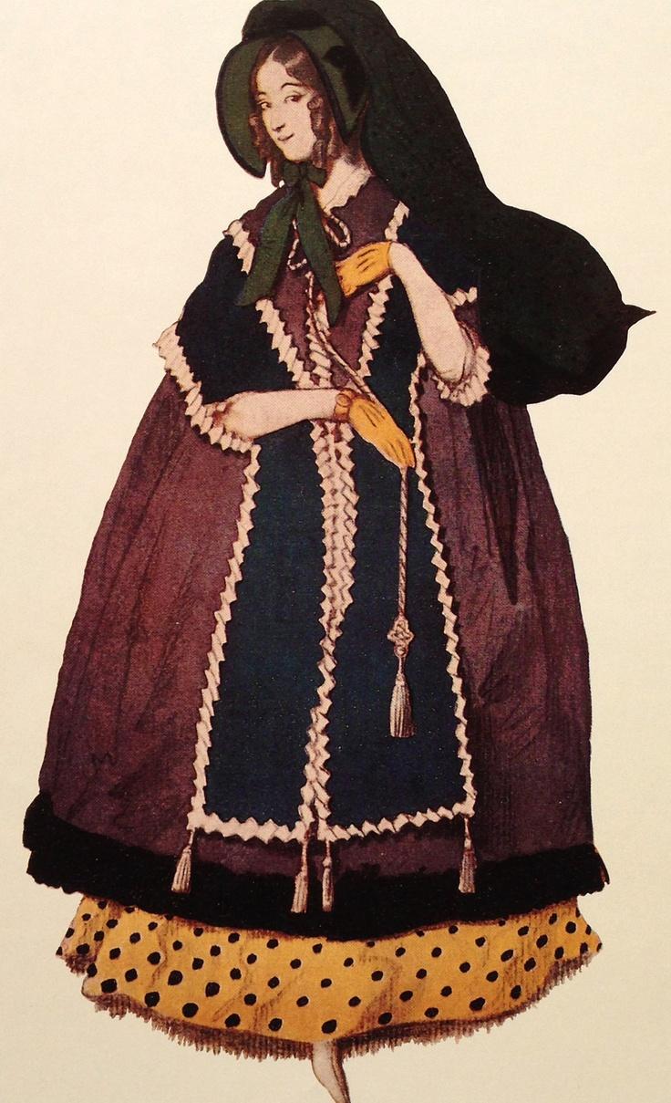 Leon Bakst. Costume of the girl in lilac. Эскиз костюма девушки в лиловом платье.